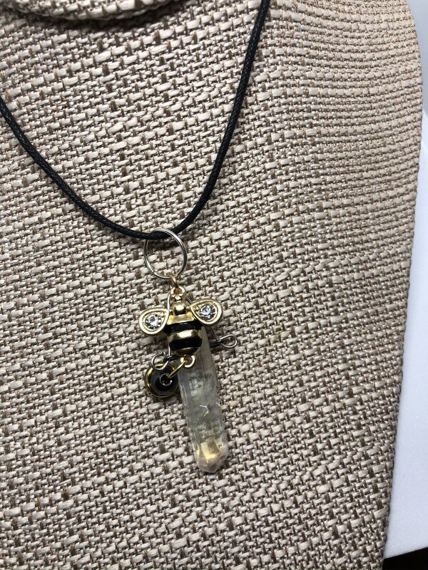 Healing Crystal Bee  Necklace