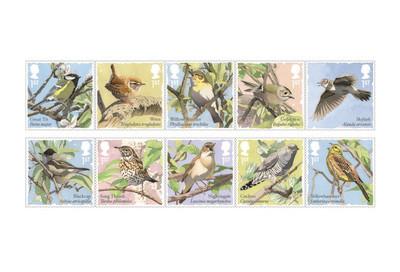 Великобритания. Певчие птицы. Серия из 2 сцепок по 5 марок