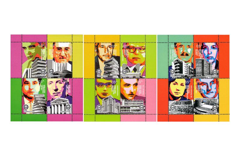 Азербайджан. Союз архитекторов. Серия из 3 почтовых блоков по 4 марки