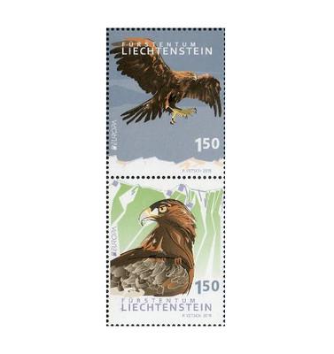 Лихтенштейн. EUROPA. Национальная птица. Беркут. Сцепка из 2 марок