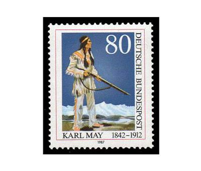 Германия. 75 лет со дня смерти Карла Мая (1842-1912), писателя, поэта и композитора. Марка
