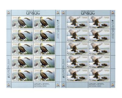 Арцах (Нагорный Карабах). EUROPA. Национальные птицы. Орлан-белохвост. Серия из 2 листов по 10 марок