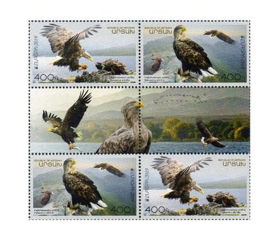 Арцах (Нагорный Карабах). EUROPA. Национальные птицы. Орлан-белохвост. Сцепка из 4 марок и 2 купонов
