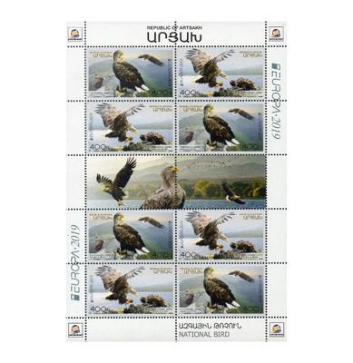 Арцах (Нагорный Карабах). EUROPA. Национальные птицы. Орлан-белохвост. Лист из 4 сцепок по 2 марки и 2 купонов