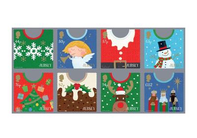 Джерси. Рождество. Джемперы. Серия из 8 самоклеящихся марок