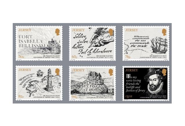 Джерси.  Сэр Уолтер Рели (ок. 1554-1618), государственный деятель, поэт и писатель, капер, губернатор Джерси. Серия из 6 марок