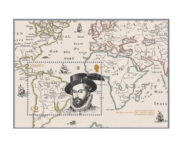 Джерси.  Сэр Уолтер Рели (ок. 1554-1618), государственный деятель, поэт и писатель, капер, губернатор Джерси. Почтовый блок