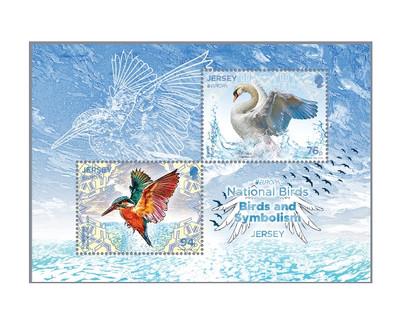 Джерси. EUROPA. Национальные птицы. Почтовый блок из 2 марок