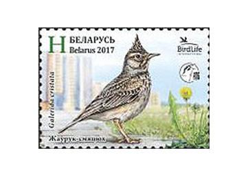 Белоруссия. Птица года. Хохлатый жаворонок. Марка