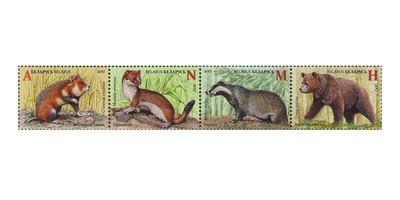Белоруссия. Красная книга. Млекопитающие. Сцепка из 4 марок