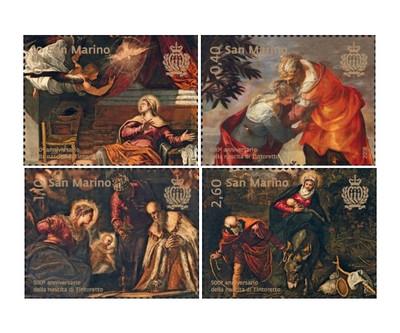Сан-Марино. Искусство. 500 лет со дня рождения Тинторетто (1518/19-1594). Серия из 4 марок