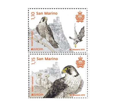 Сан-Марино. EUROPA. Национальные птицы. Сокол. Серия из 2 марок