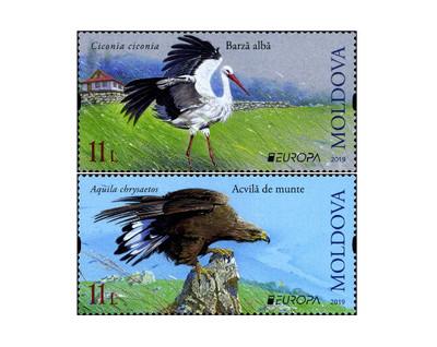 Молдавия. EUROPA. Национальные птицы. Белый аист и беркут. Серия из 2 марок
