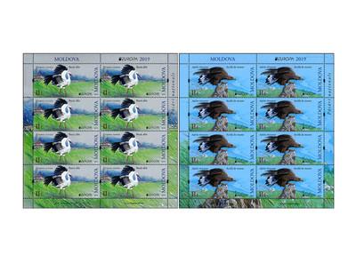 Молдавия. EUROPA. Национальные птицы. Белый аист и беркут. Серия из 2 листов по 8 марок