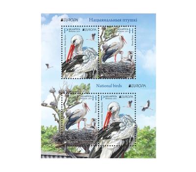 Белоруссия. EUROPA. Национальные птицы. Белый аист. Почтовый блок из 2 сцепок по 2 марки