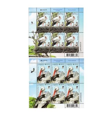 Белоруссия. EUROPA. Национальные птицы. Белый аист. Серия из 2 листов по 6 марок