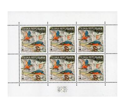 Чехия. EUROPA. Национальные птицы. Обыкновенный зимородок. Лист из 6 марок