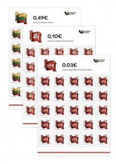 Литва. Стандартный выпуск. Символы Литовского государства. Флаги. Серия из 3 листов по 25 самоклеящихся марок