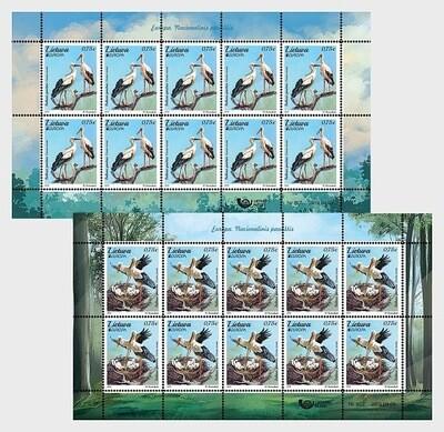 Литва. EUROPA. Национальные птицы. Белый аист. Серия из 2 листов по 10 марок