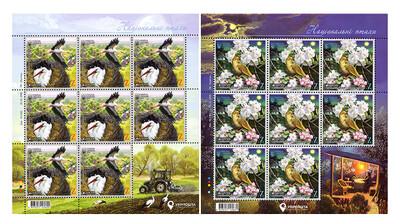 Украина. EUROPA. Национальные птицы. Белый аист и обыкновенный соловей. Серия из 2 листов по 8 марок и купону