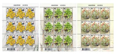 Белоруссия. Лишайники. Серия из 3 листов по 9 марок
