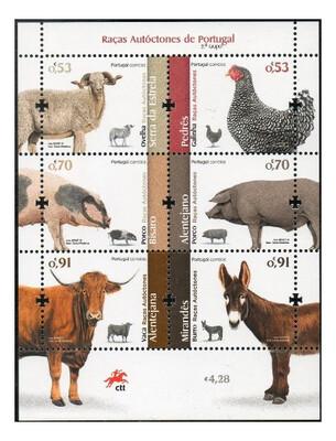Португалия. Португальские автохтонные породы домашних животных. Почтовый блок из 6 марок