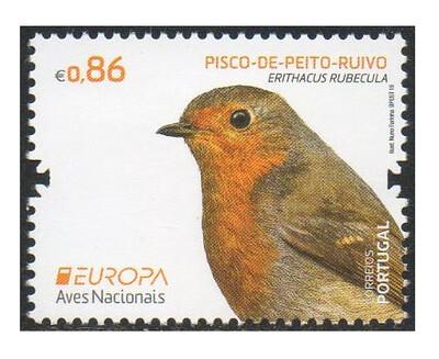 Португалия. EUROPA. Национальные птицы: зарянка. Марка