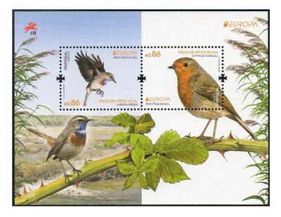 Португалия. EUROPA. Национальные птицы: варакушка и зарянка. Почтовый блок из 2 марок