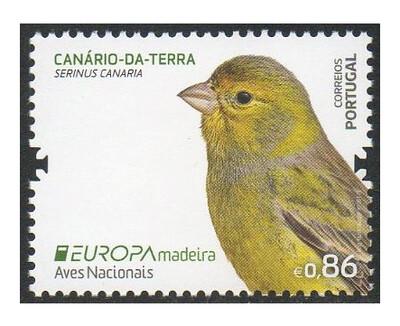 Мадейра. EUROPA. Национальные птицы: канарский канареечный вьюрок. Марка