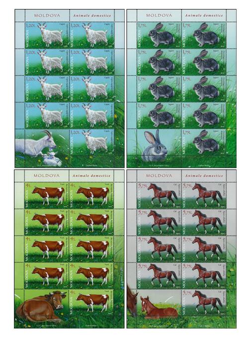 Молдавия. Домашние животные. Серия из 4 листов по 9 марок с купоном