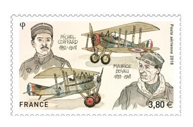 Франция. Лётчики-асы Первой мировой войны. Мишель Коффард (1892-1918) и Морис Бояу (1888-1918). Марка