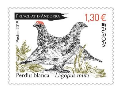 Андорра (Французская). EUROPA. Национальные птицы. Белая (снежная) куропатка. Марка