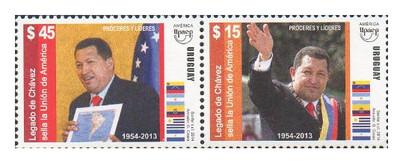 Уругвай. UPAEP. Герои и легенды. Уго Рафаэль Чавес Фриас (1954-2013), Президент Венесуэлы. Сцепка из 2 марок