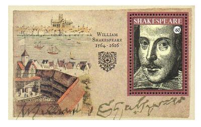 Уругвай. 400 лет со дня смерти Уильяма Шекспира (1564-1616), английского поэта и драматурга. Почтовый блок