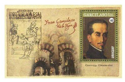 Уругвай. 400 лет со дня смерти Инки Гарсиласо де ла Вега (1539-1616), перуанского писателя и историка. Почтовый блок