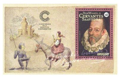 Уругвай. 400 лет со дня смерти Мигеля де Серваантеса Сааведры (1547-1616), испанского писателя. Почтовый блок