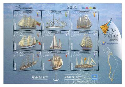 Уругвай. Регата парусных кораблей. Почтовый блок из 9 марок