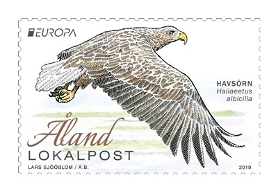 Аландские острова. EUROPA. Национальные птицы. Орлан-белохвост. Марка