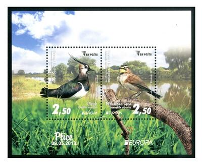 Босния и Герцеговина (Федерация). EUROPA. Национальные птицы. Чибис и Рогатый жаворонок. Почтовый блок из 2 марок