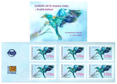Словакия. EUROPA. Национальные птицы. Сизоворонка. Буклет из 6 самоклеящихся марок