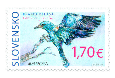 Словакия. EUROPA. Национальные птицы. Сизоворонка. Марка