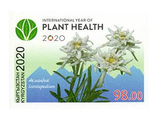 Киргизия. 2020 год- Международный год охраны растений под эгидой ООН. Беззубцовая марка