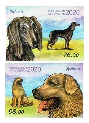 Киргизия. Фауна. Породы собак:  калган (борзая) и дёбет (волкодав). Серия из 2 беззубцовых марок