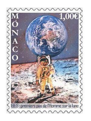 Монако. 50 лет первому шагу человека на Луне. Марка