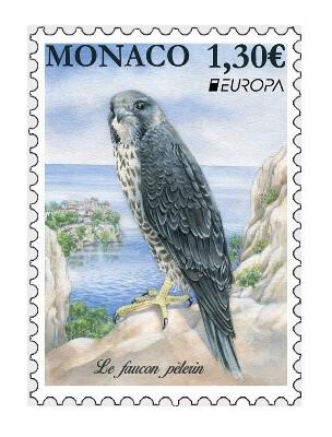 Монако. EUROPA. Национальные птицы. Сапсан. Марка