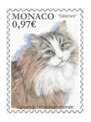 Монако. Международная выставка кошек - 2020. Сибирская кошка. Марка