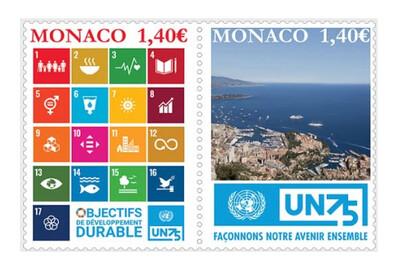 Монако. 75 лет Организации Объединённых Наций. Совместный выпуск. Сцепка из 2 марок