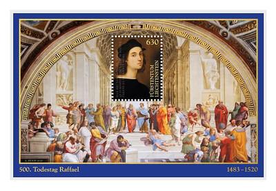 Лихтенштейн. 500 лет со дня смерти Рафаэля Санти (1483-1520), итальянского живописца, графика и архитектора. Почтовый блок