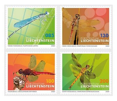 Лихтенштейн. Фауна. Стрекозы (продолжение многолетней серии). Серия из 4 марок