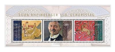 Лихтенштейн. 150 лет со дня рождения Эгона Рфйнбергераа (1870-1936), живописца, скульптора и архитектора. Почтовый блок из 3 марок